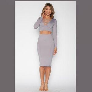 Crop Top And Skirt Set - Mauve